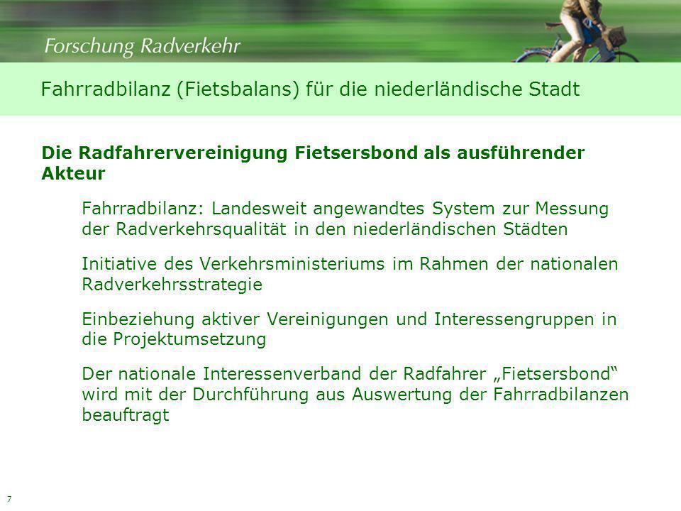 Fahrradbilanz (Fietsbalans) für die niederländische Stadt