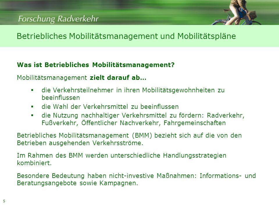 Betriebliches Mobilitätsmanagement und Mobilitätspläne