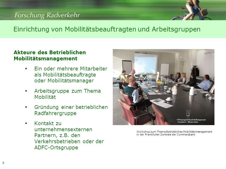 Einrichtung von Mobilitätsbeauftragten und Arbeitsgruppen