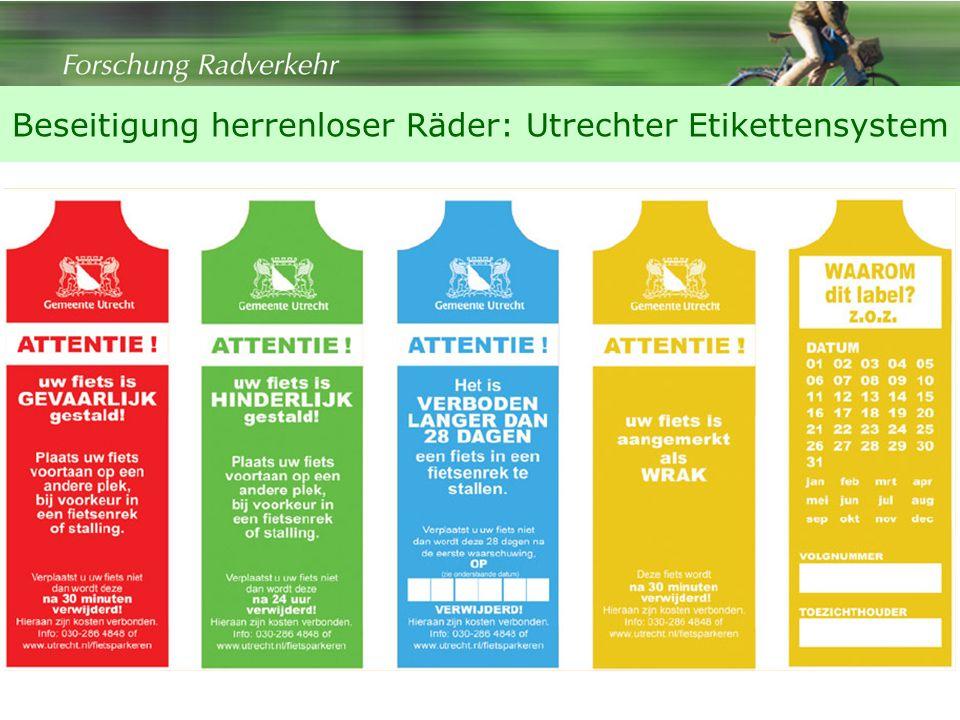 Beseitigung herrenloser Räder: Utrechter Etikettensystem
