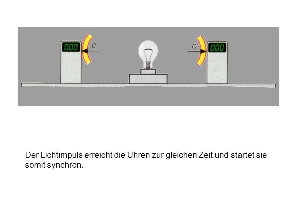 Der Lichtimpuls erreicht die Uhren zur gleichen Zeit und startet sie somit synchron.