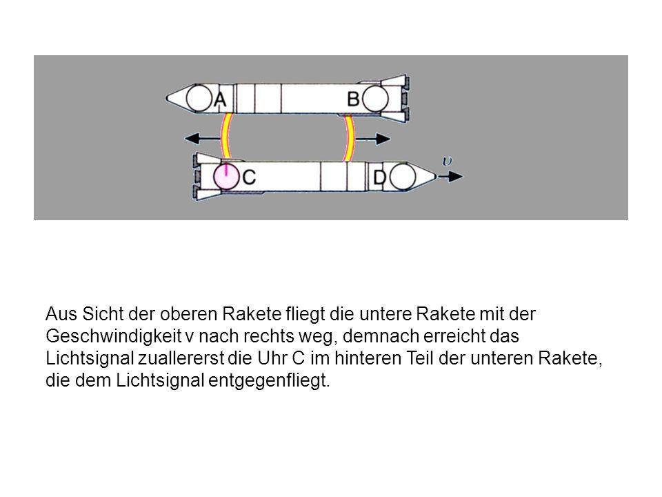 Aus Sicht der oberen Rakete fliegt die untere Rakete mit der Geschwindigkeit v nach rechts weg, demnach erreicht das Lichtsignal zuallererst die Uhr C im hinteren Teil der unteren Rakete, die dem Lichtsignal entgegenfliegt.