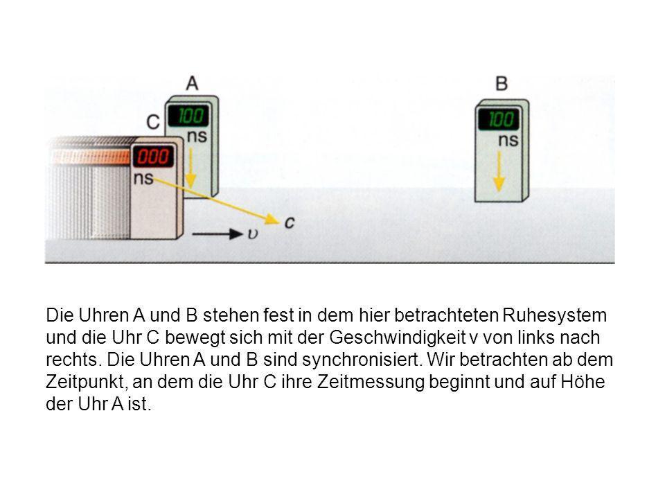 Die Uhren A und B stehen fest in dem hier betrachteten Ruhesystem und die Uhr C bewegt sich mit der Geschwindigkeit v von links nach rechts.