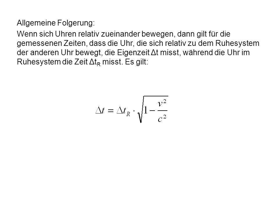 Allgemeine Folgerung: