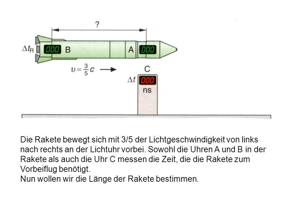 Die Rakete bewegt sich mit 3/5 der Lichtgeschwindigkeit von links nach rechts an der Lichtuhr vorbei. Sowohl die Uhren A und B in der Rakete als auch die Uhr C messen die Zeit, die die Rakete zum Vorbeiflug benötigt.