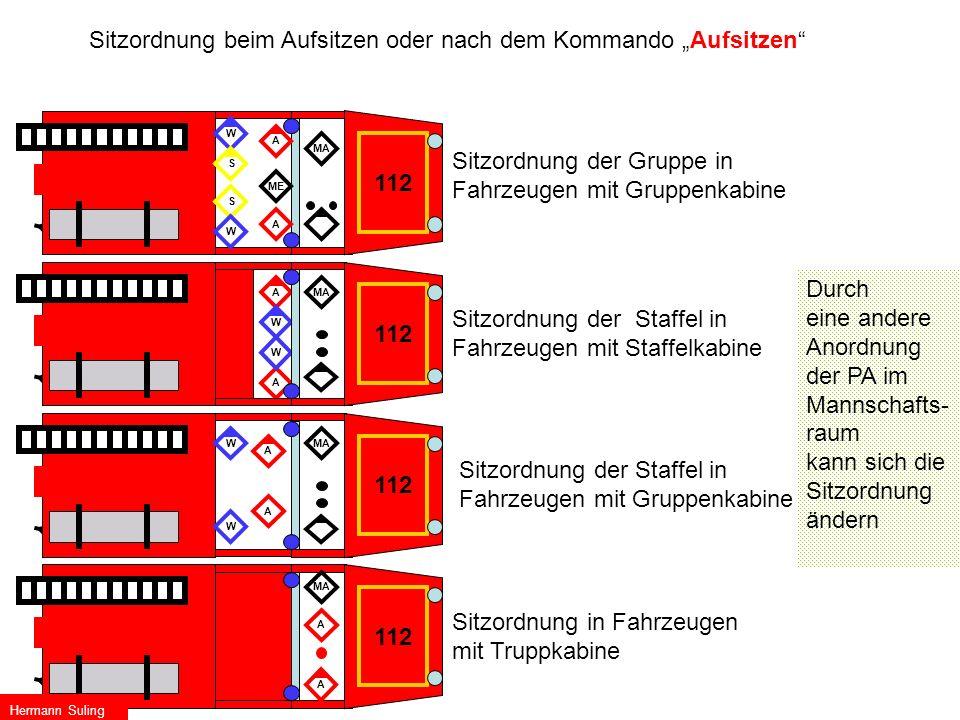 """Sitzordnung beim Aufsitzen oder nach dem Kommando """"Aufsitzen"""