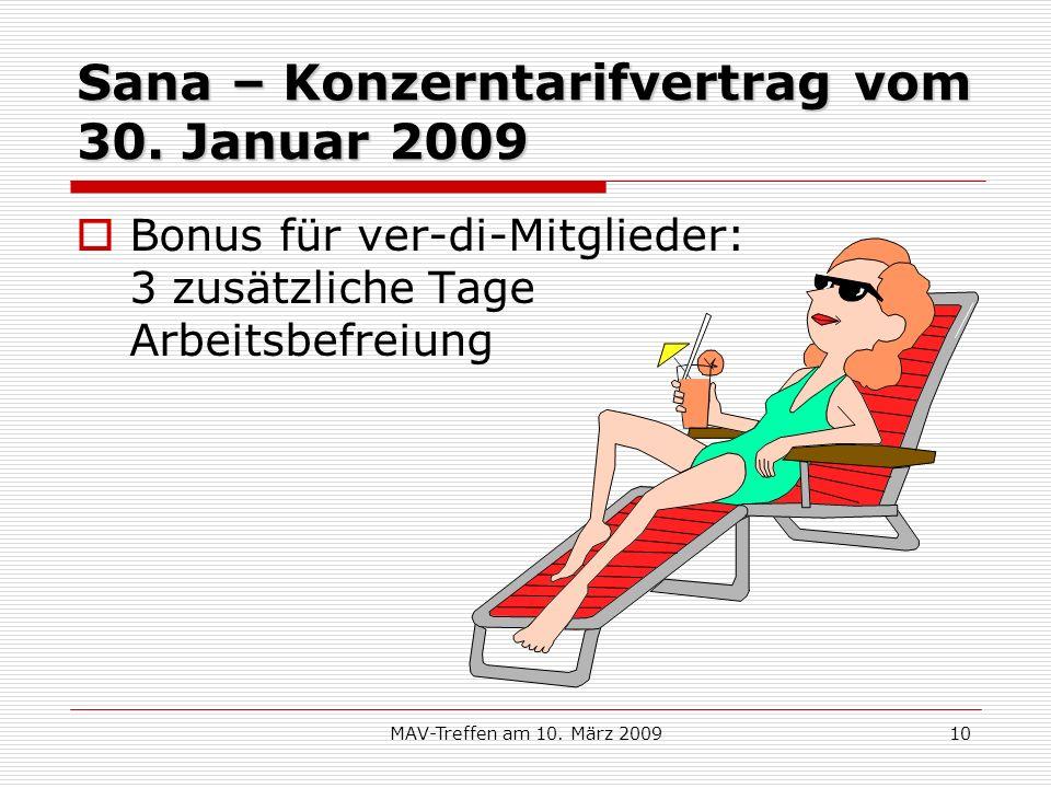 Sana – Konzerntarifvertrag vom 30. Januar 2009