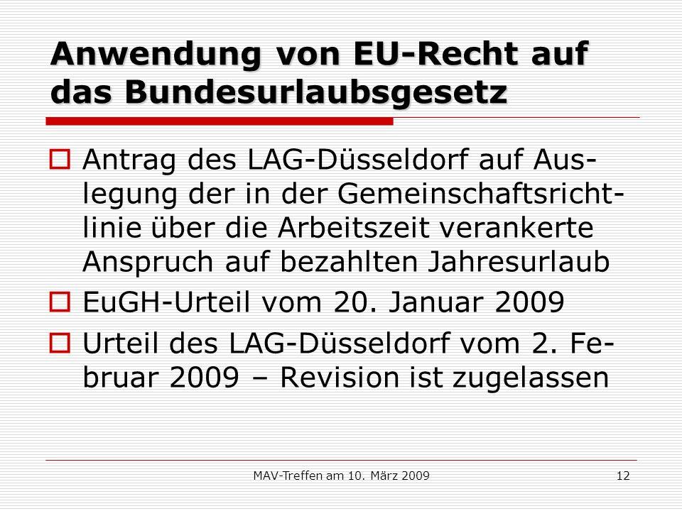 Anwendung von EU-Recht auf das Bundesurlaubsgesetz