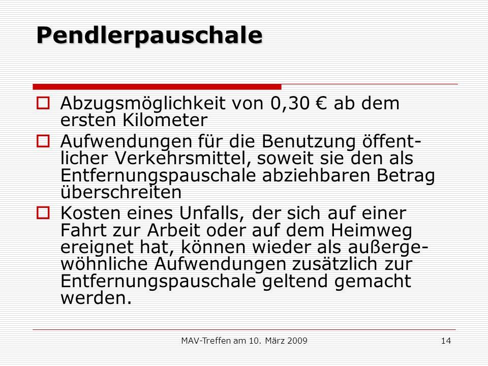 Pendlerpauschale Abzugsmöglichkeit von 0,30 € ab dem ersten Kilometer