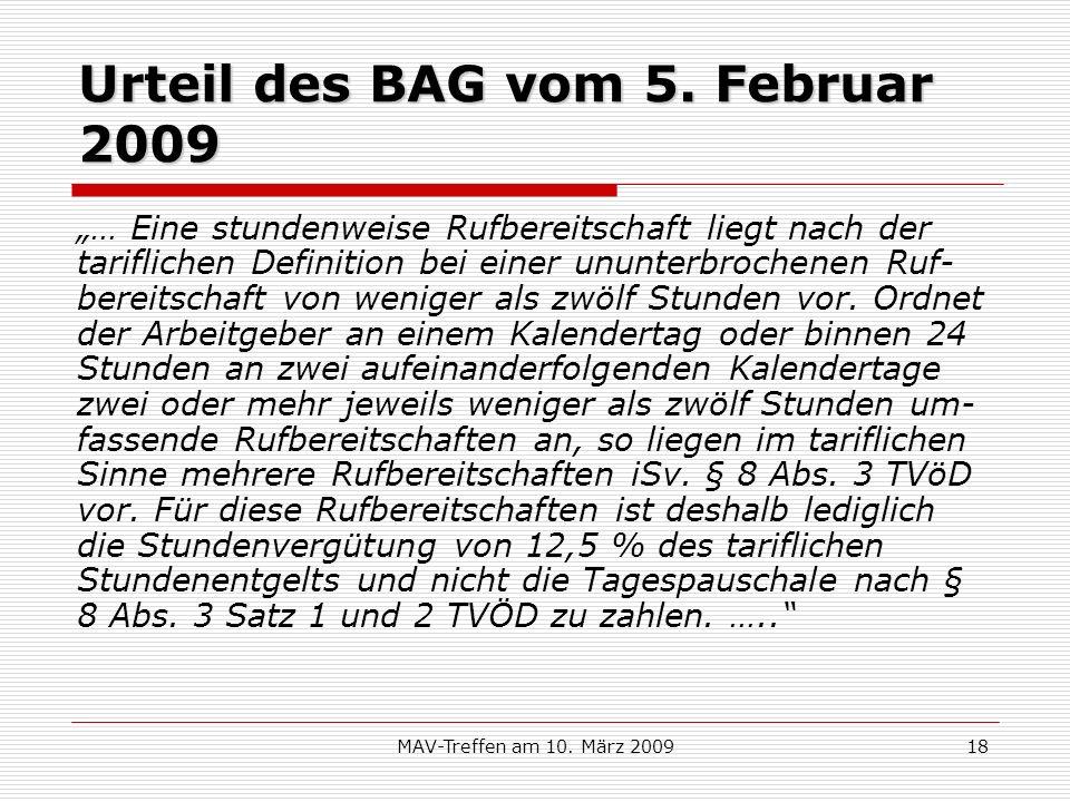 Urteil des BAG vom 5. Februar 2009