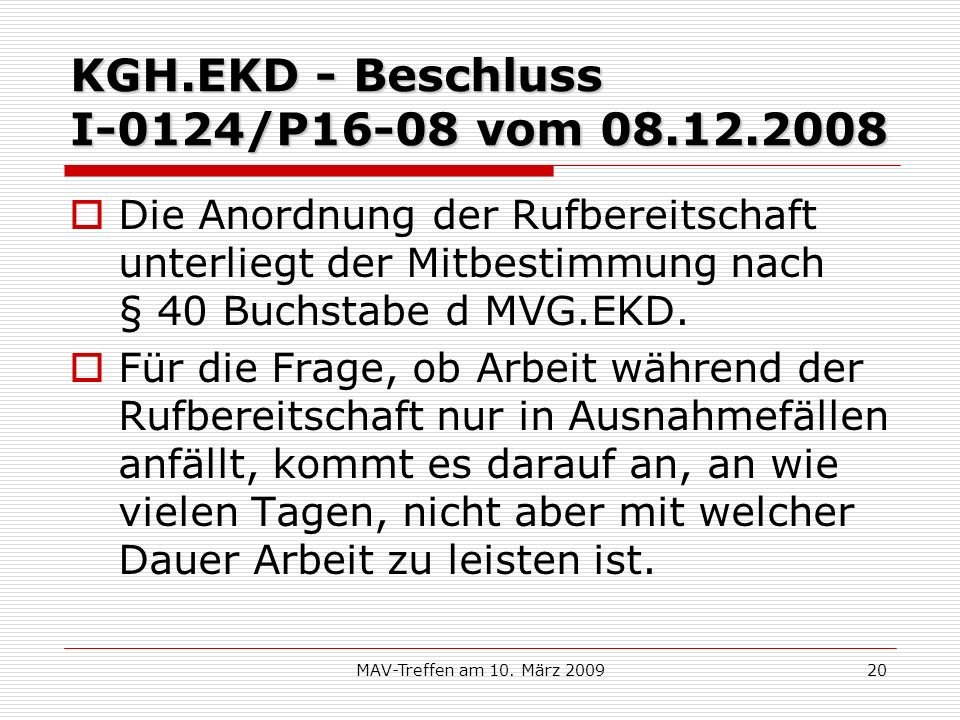 KGH.EKD - Beschluss I-0124/P16-08 vom 08.12.2008