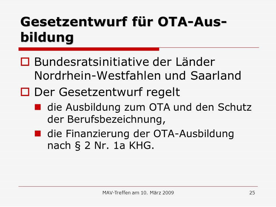 Gesetzentwurf für OTA-Aus-bildung
