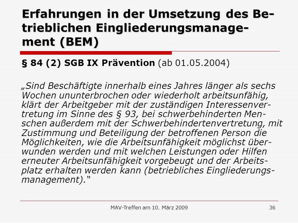 Erfahrungen in der Umsetzung des Be-trieblichen Eingliederungsmanage-ment (BEM)