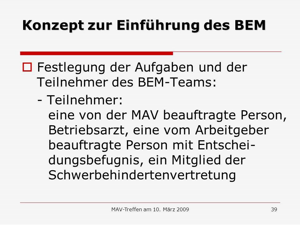Konzept zur Einführung des BEM