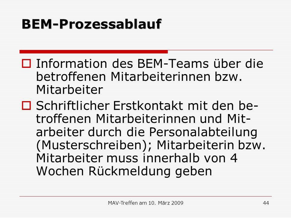 BEM-Prozessablauf Information des BEM-Teams über die betroffenen Mitarbeiterinnen bzw. Mitarbeiter.