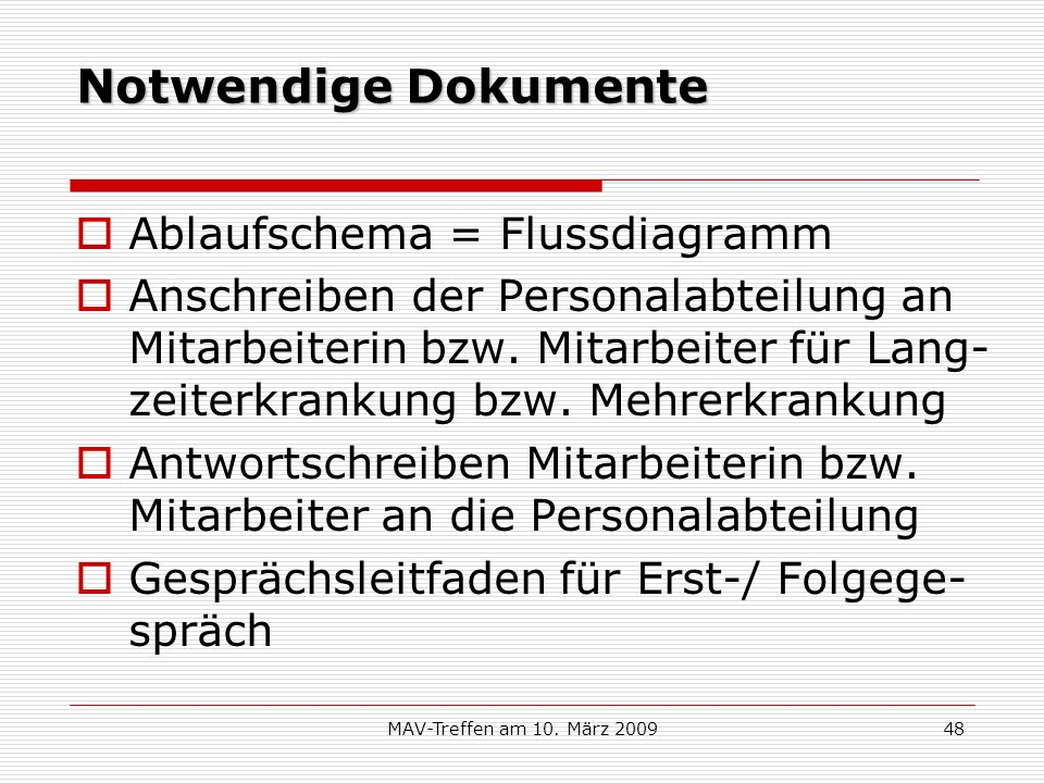 Notwendige Dokumente Ablaufschema = Flussdiagramm