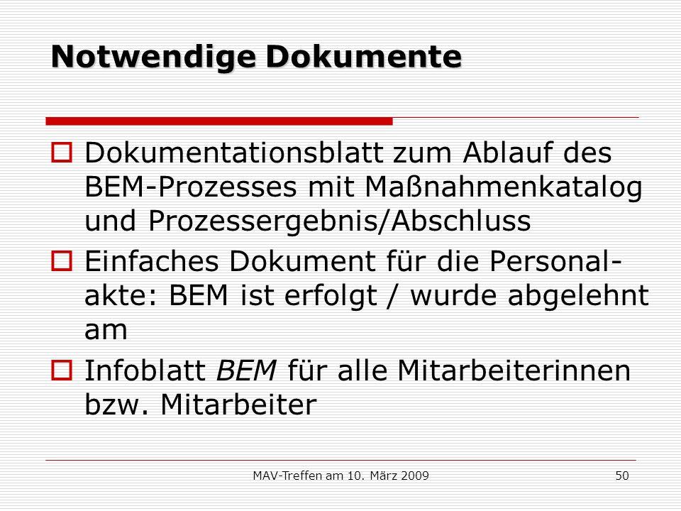 Notwendige Dokumente Dokumentationsblatt zum Ablauf des BEM-Prozesses mit Maßnahmenkatalog und Prozessergebnis/Abschluss.