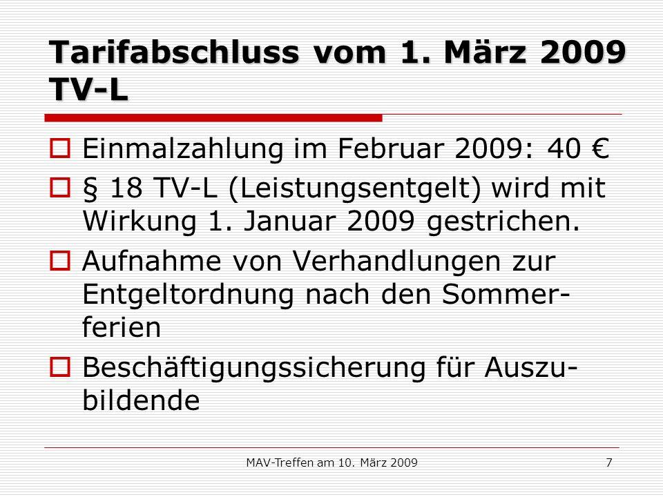 Tarifabschluss vom 1. März 2009 TV-L