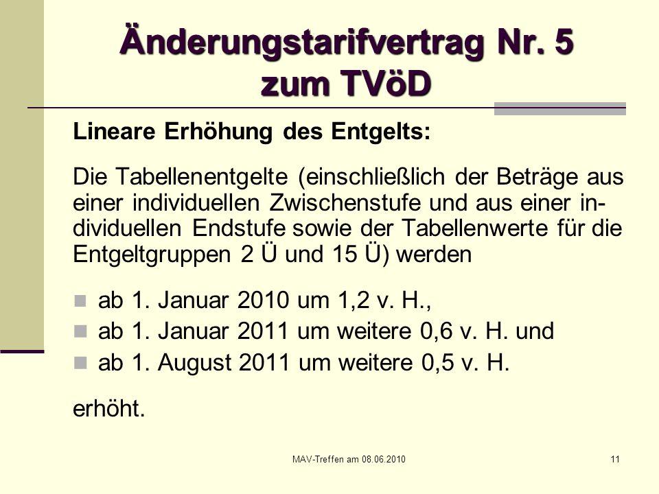 Änderungstarifvertrag Nr. 5 zum TVöD