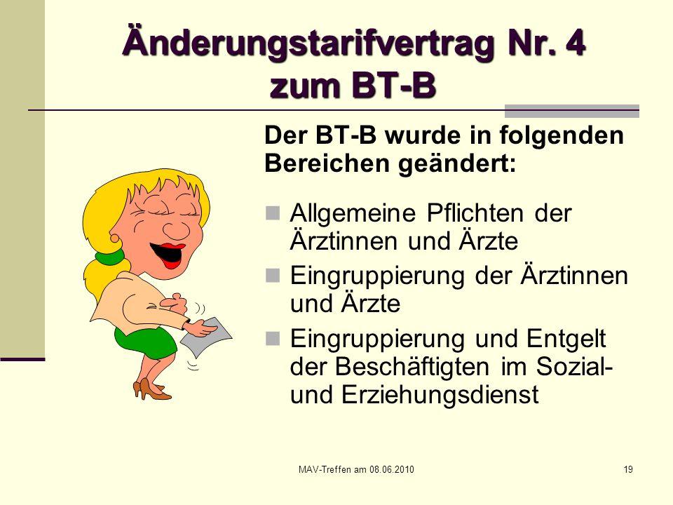 Änderungstarifvertrag Nr. 4 zum BT-B