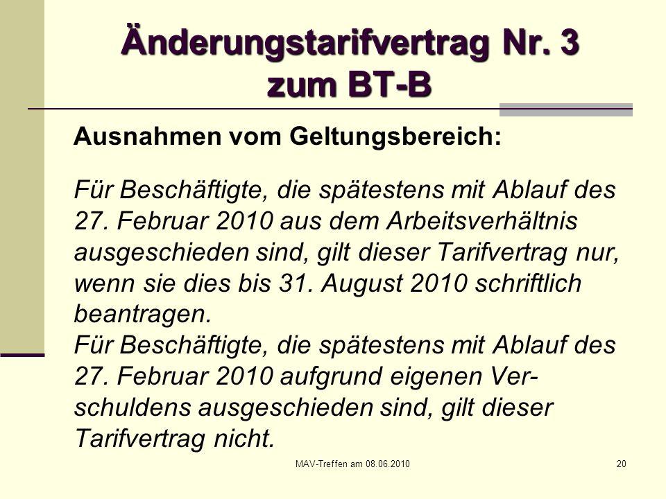 Änderungstarifvertrag Nr. 3 zum BT-B