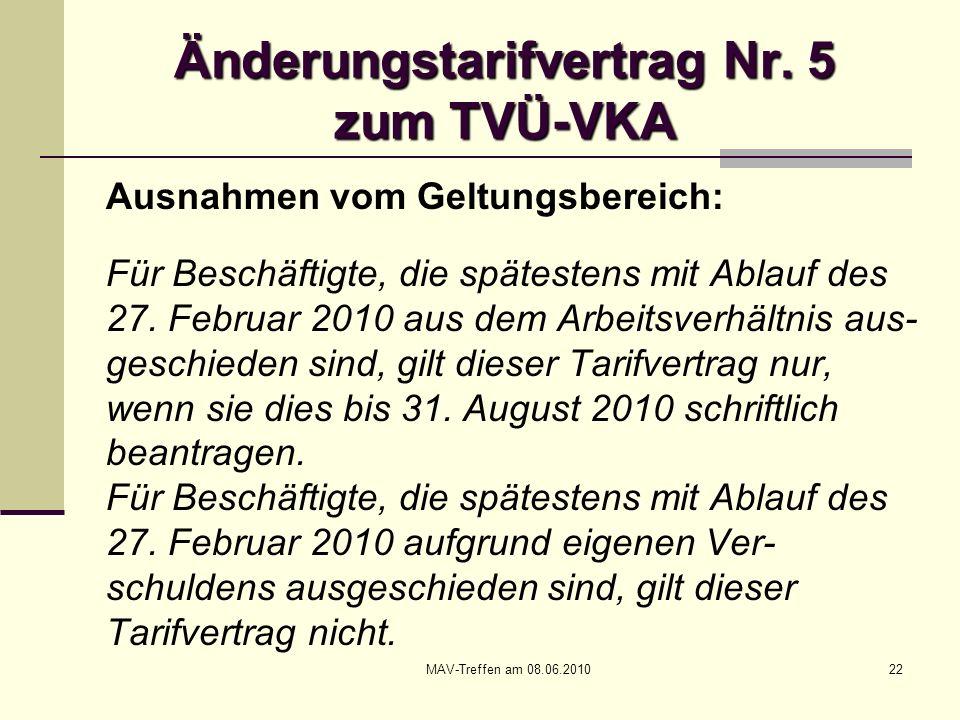 Änderungstarifvertrag Nr. 5 zum TVÜ-VKA