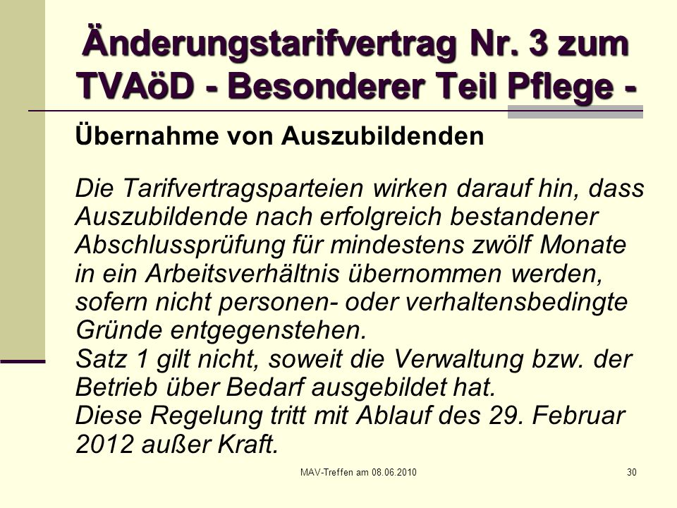 Änderungstarifvertrag Nr. 3 zum TVAöD - Besonderer Teil Pflege -