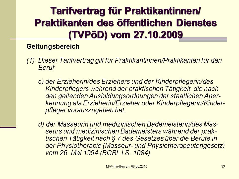 Tarifvertrag für Praktikantinnen/ Praktikanten des öffentlichen Dienstes (TVPöD) vom 27.10.2009