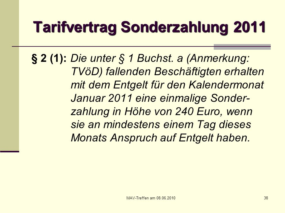 Tarifvertrag Sonderzahlung 2011