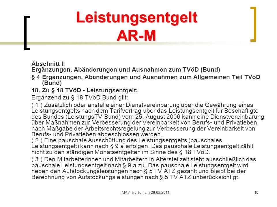 Leistungsentgelt AR-M