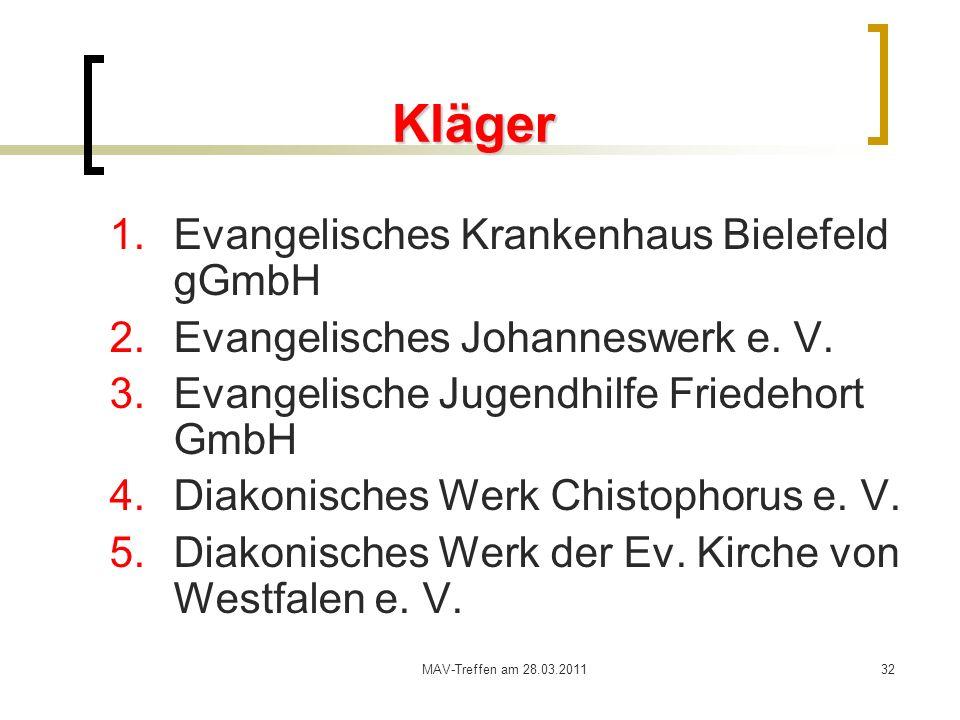 Kläger Evangelisches Krankenhaus Bielefeld gGmbH