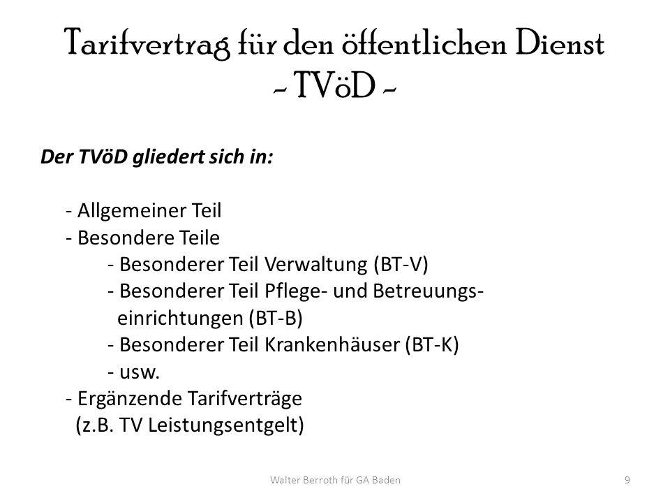 Tarifvertrag für den öffentlichen Dienst - TVöD -