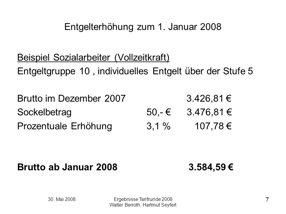 Entgelterhöhung zum 1. Januar 2008