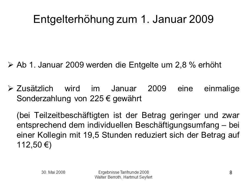 Entgelterhöhung zum 1. Januar 2009