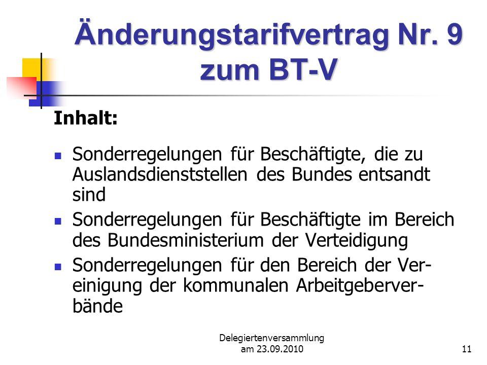 Änderungstarifvertrag Nr. 9 zum BT-V