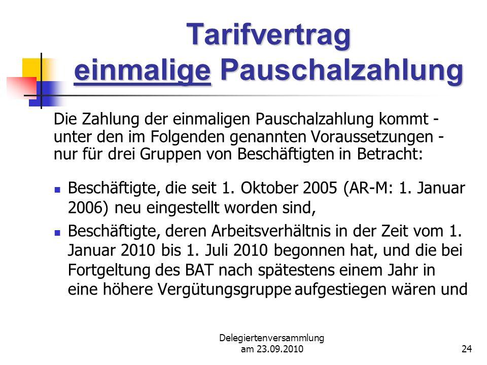 Tarifvertrag einmalige Pauschalzahlung