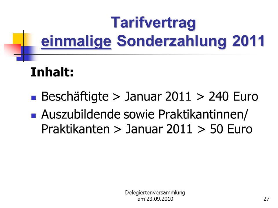 Tarifvertrag einmalige Sonderzahlung 2011