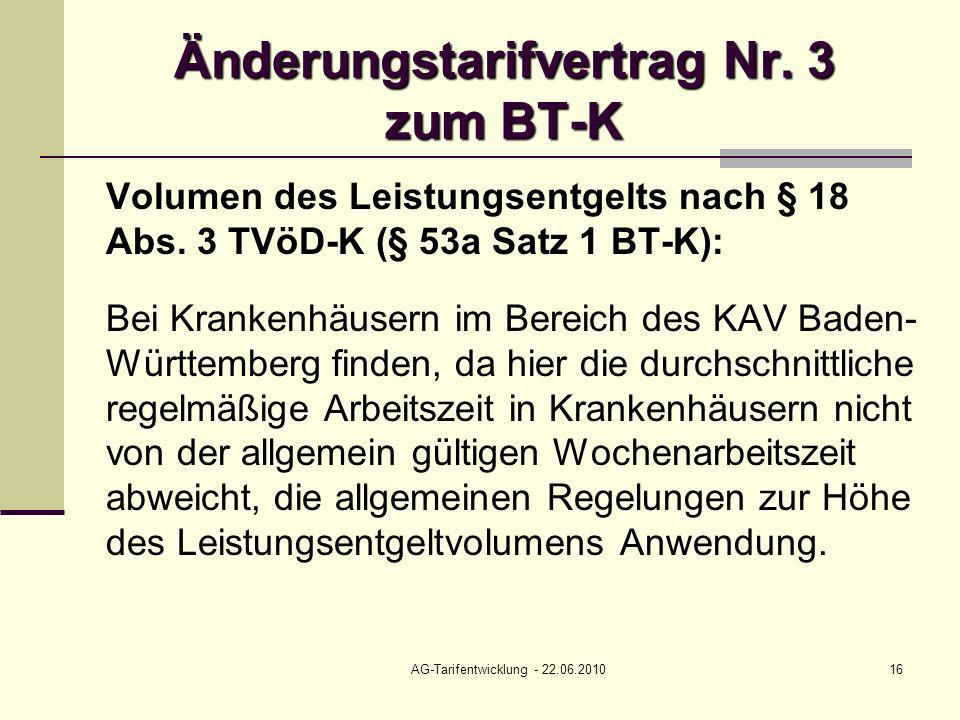 Änderungstarifvertrag Nr. 3 zum BT-K