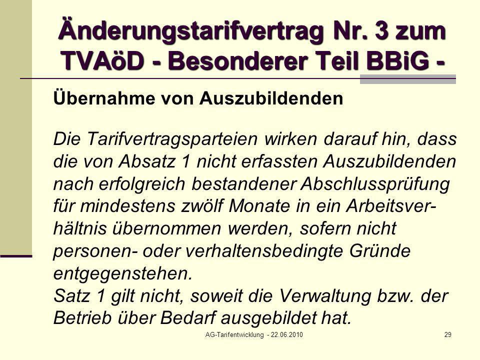 Änderungstarifvertrag Nr. 3 zum TVAöD - Besonderer Teil BBiG -