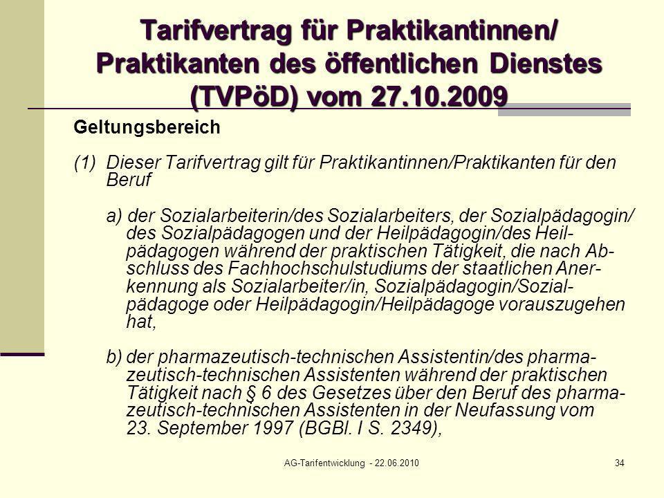 AG-Tarifentwicklung - 22.06.2010