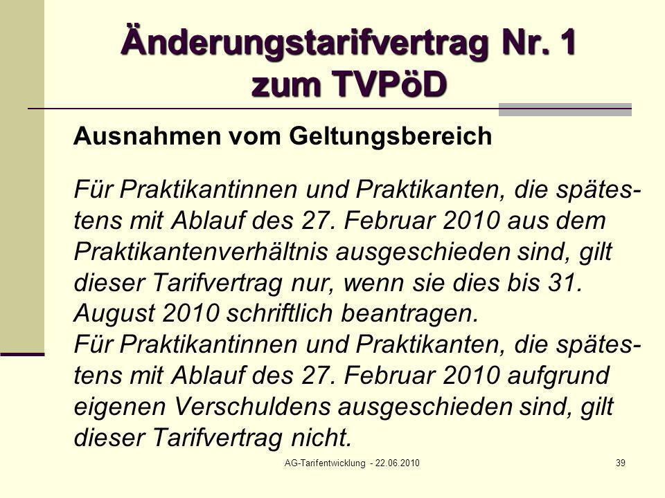 Änderungstarifvertrag Nr. 1 zum TVPöD