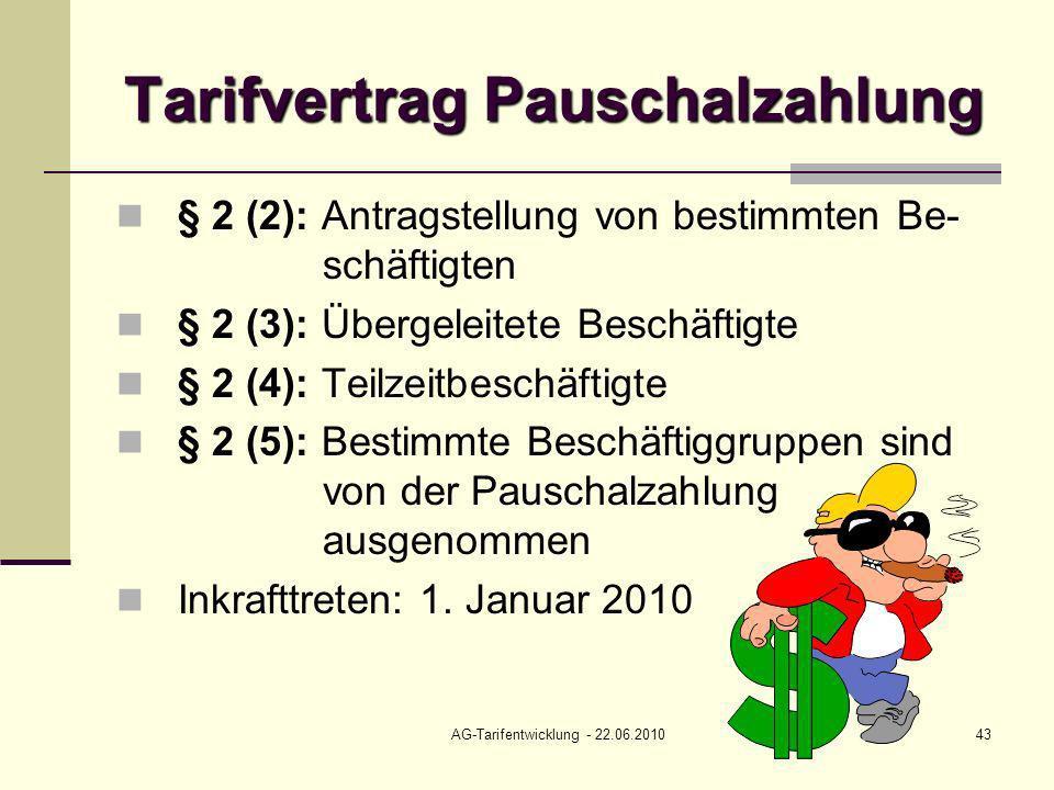 Tarifvertrag Pauschalzahlung