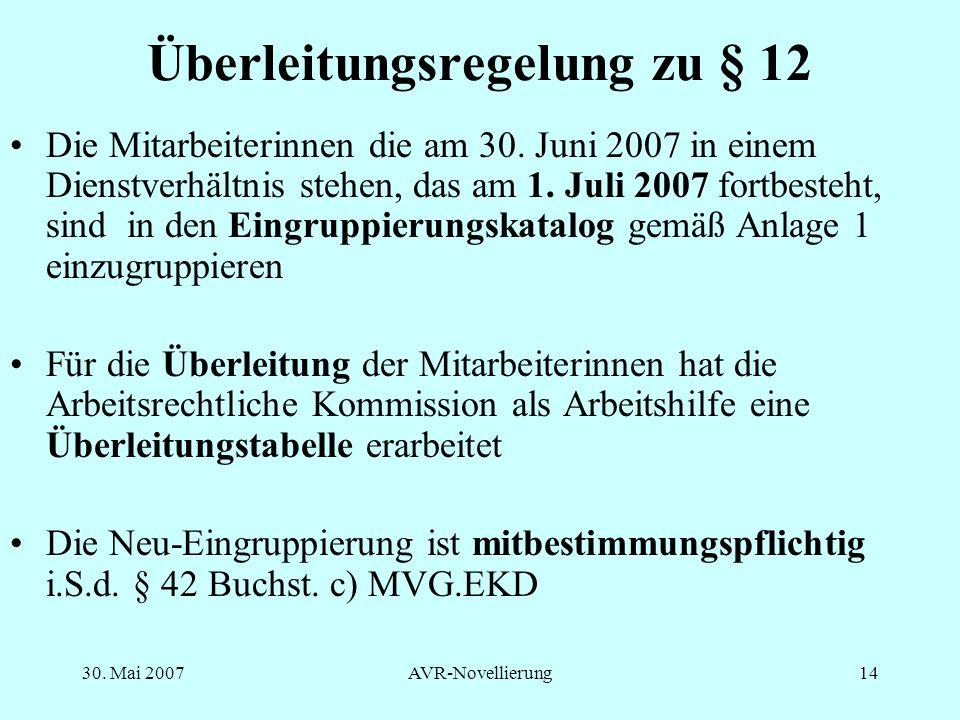 Überleitungsregelung zu § 12