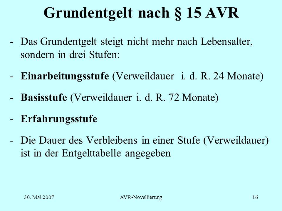 Grundentgelt nach § 15 AVR