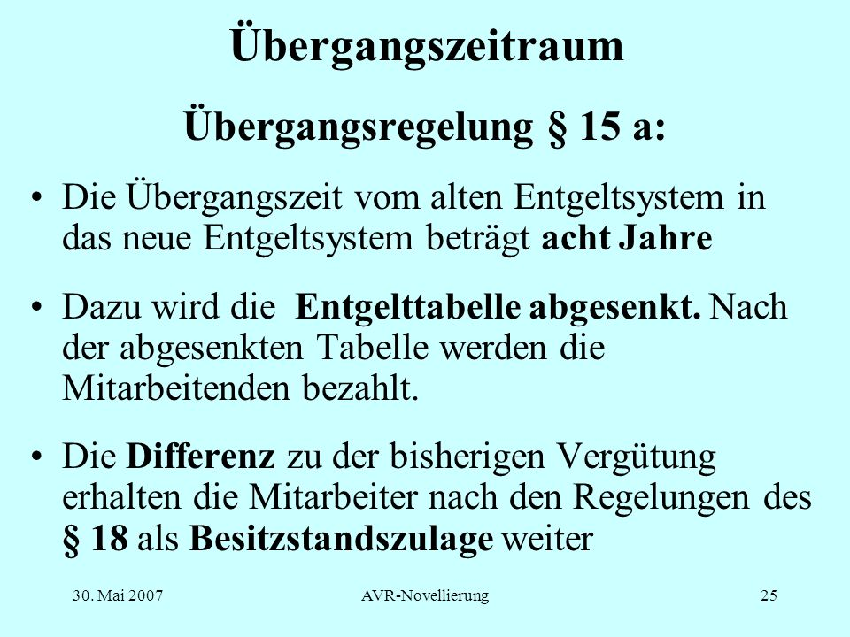 Übergangsregelung § 15 a: