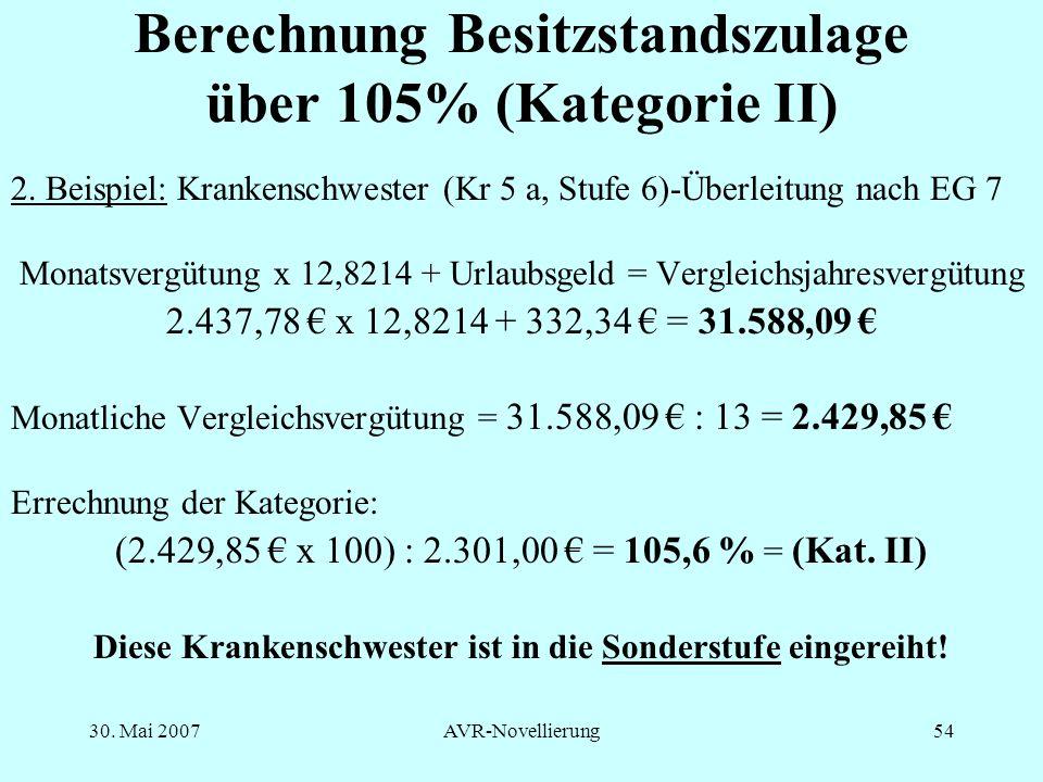Berechnung Besitzstandszulage über 105% (Kategorie II)