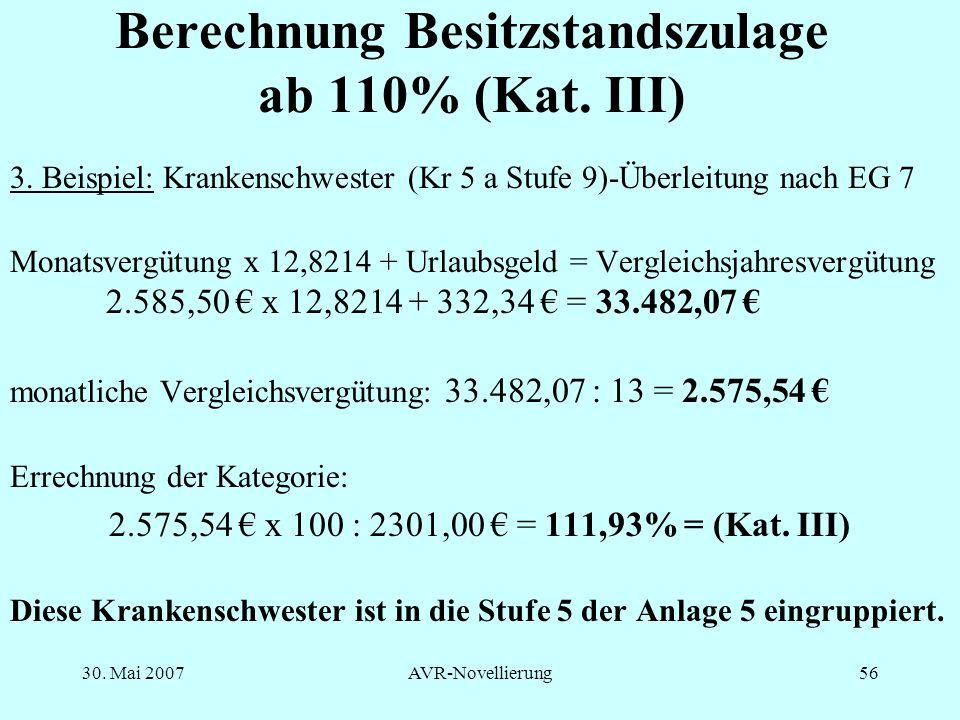 Berechnung Besitzstandszulage ab 110% (Kat. III)