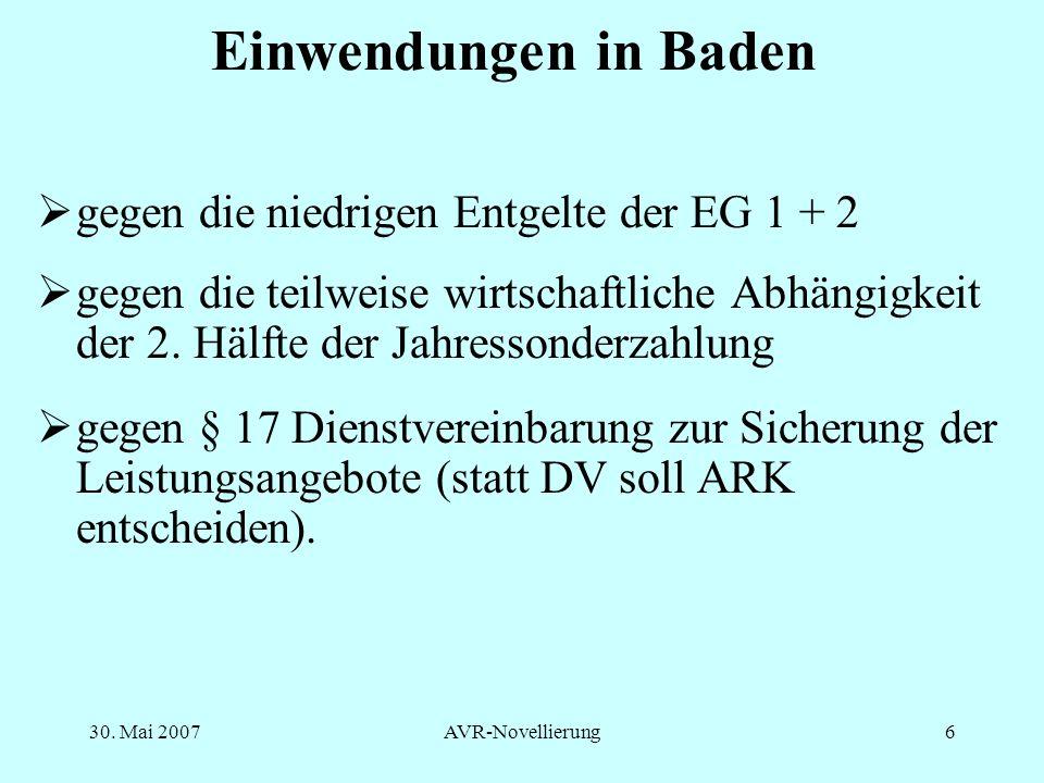 Einwendungen in Baden gegen die niedrigen Entgelte der EG 1 + 2