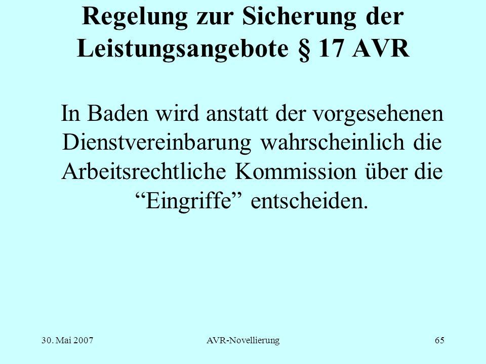 Regelung zur Sicherung der Leistungsangebote § 17 AVR