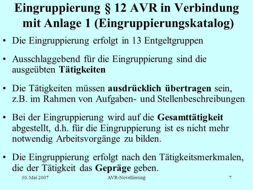 Eingruppierung § 12 AVR in Verbindung mit Anlage 1 (Eingruppierungskatalog)